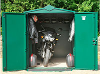 large motorbike shed: secure motorbike storage